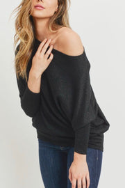 Christy lurex top, black