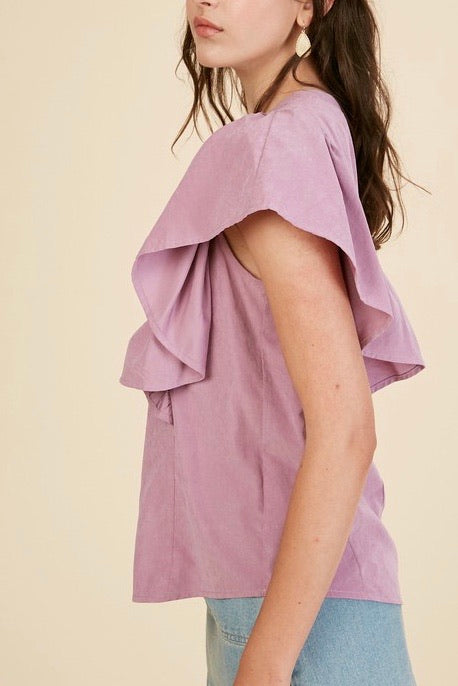 Betsy flutter sleeve top, lilac