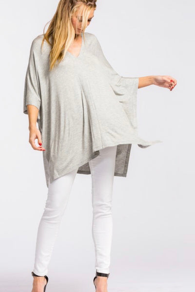 Melissa oversized poncho top, heather grey