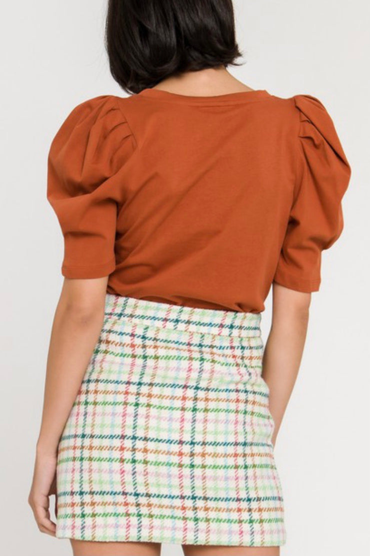 Beckett pleated puff sleeve top, cognac