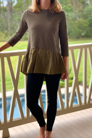 Covington Top with Hi Lo Hem, olive