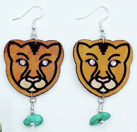 Leather Earring Mountain Lion