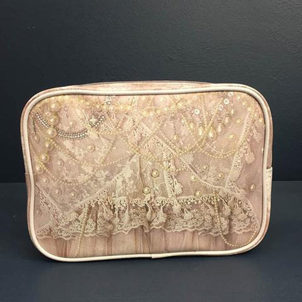 Pearls & Lace Zippered Cosmetic Bag