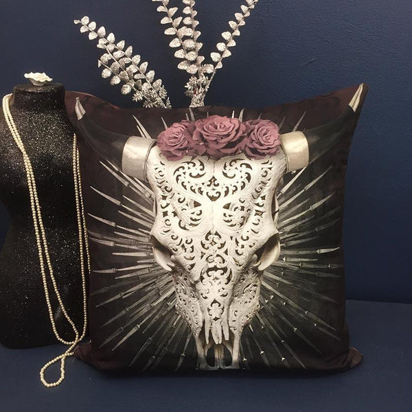 Silver Steer Skull Cushion