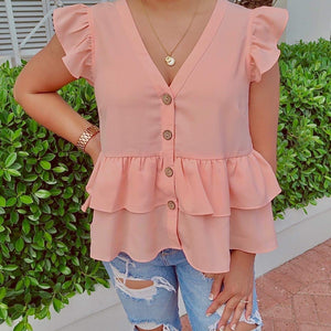 Pink V-neck Blouse