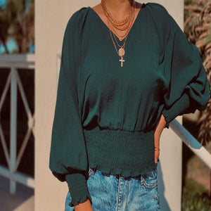 Emerald V-neck Blouse