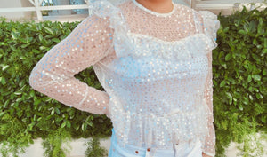 Ruffled See through Sequin peplum blouse