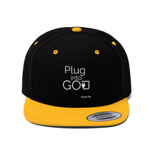 Load image into Gallery viewer, PLUG INTO GOD Flat Bill Hat