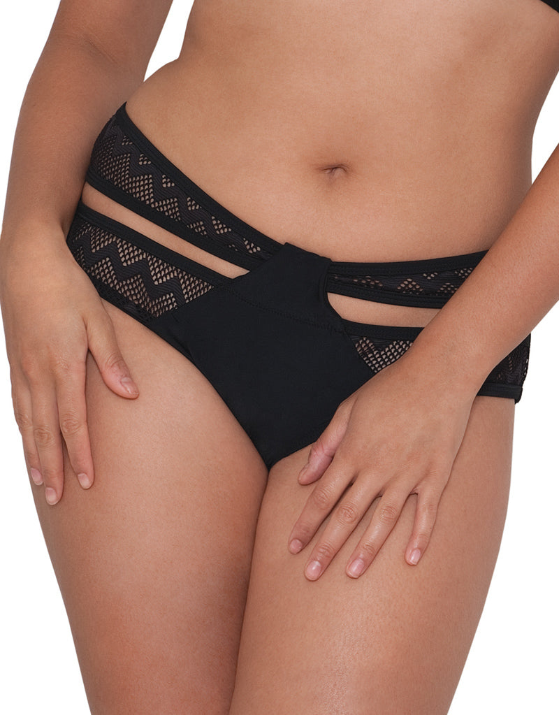 Curvy Kate Hi Voltage Strappy Mini Bikini Brief Black