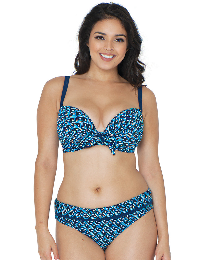 Curvy Kate Wanderlust Moulded Plunge Bikini Top Blue Mix