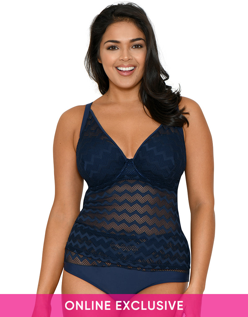 Curvy Kate Hi Voltage Padded Plunge Tankini Top Navy