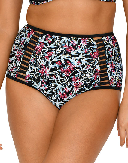 Curvy Kate Maya High Waist Bikini Brief Monochrome/Berry