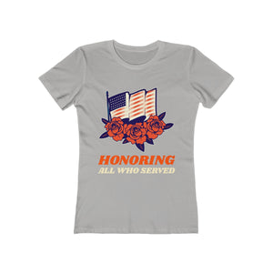 Honoring All Who Served Flag and Flowers | Super Soft Women's Tee