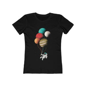 Astronaut with Planet Balloons | Super Soft Women's Tee