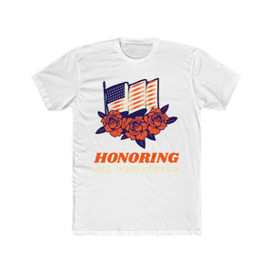 Honoring All Who Served Flag and Flowers | Super Soft Men's Tee