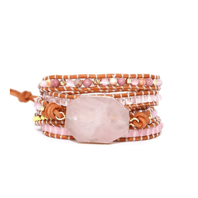Bracelet Quartz Rose et Rhodonite