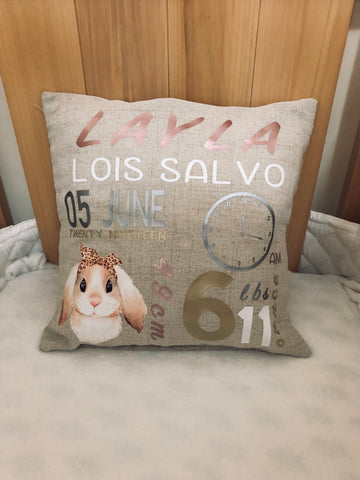 Birth Announcement Pillow - Bunny