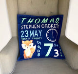 Clever Little Fox - Birth Announcement Pillow