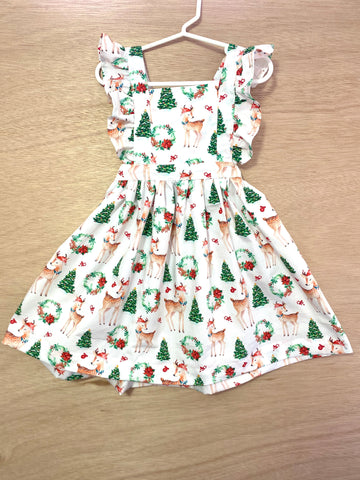 Reindeer Wreaths - pinafore dress