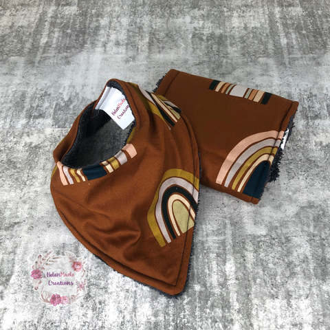 Earthy rainbows - bib and burp cloth set