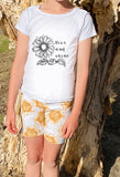 Sunflowers shorts/pant set: 2yrs-7yrs