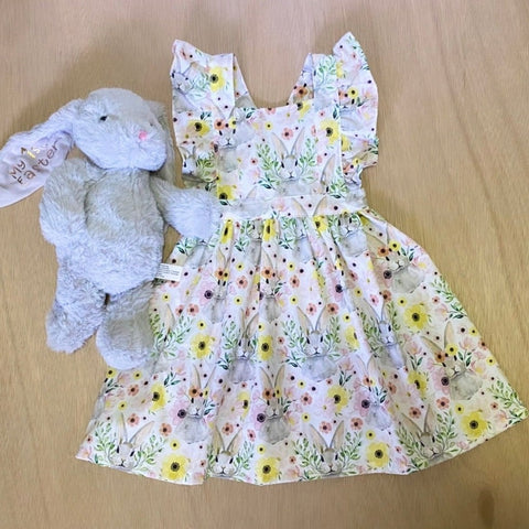 Floral Bunny pinafore dress