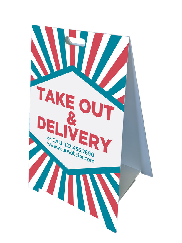 Custom Fold-A-Frame™  Take Out and Delivery Sign
