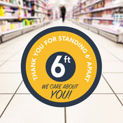 Retail Social Distancing Floor Decal We Care About You (Yellow)