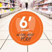 Retail Social Distancing Floor Decal We Care About You (Orange)