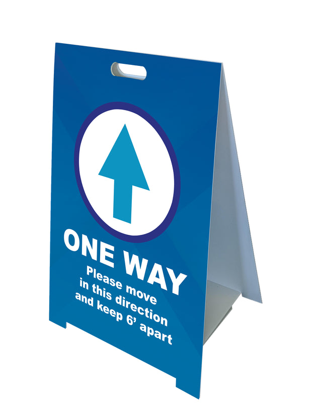 Fold-A-Frame™ Blue One Way Sign