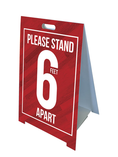 Fold-A-Frame™ Red 6 Feet Apart Sign