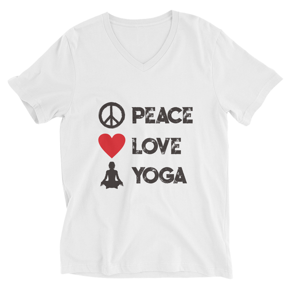 Peace Love Yoga V-Neck T-Shirt - House of BeYouTee
