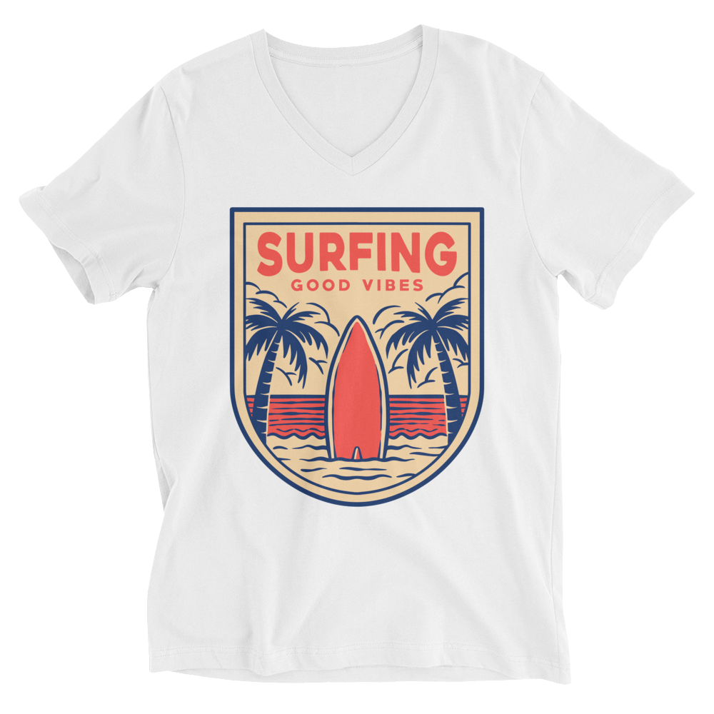 Surfing Good Vibes V-Neck T-Shirt - House of BeYouTee