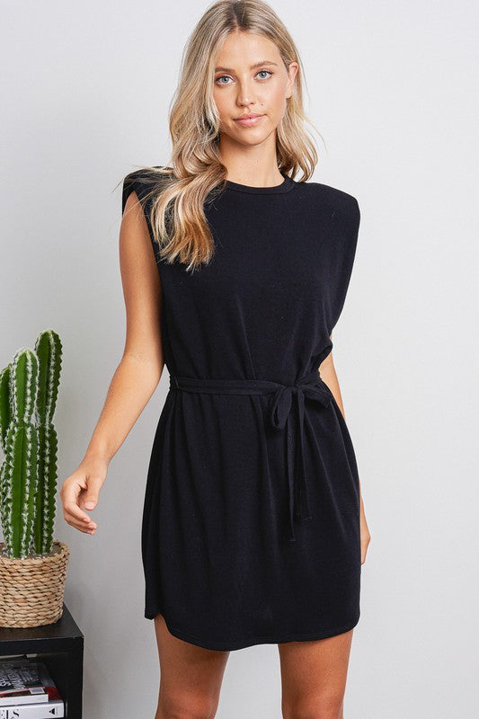 Kira Black Padded Shoulder Dress