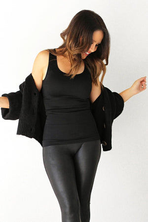 black open front button cardigan