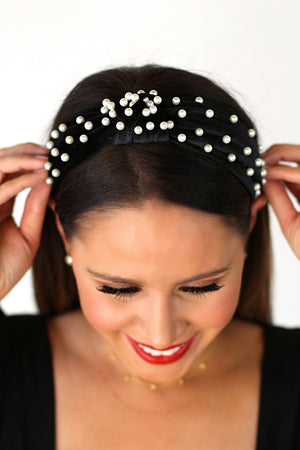 Velvet and Pearl Black Knot Headband