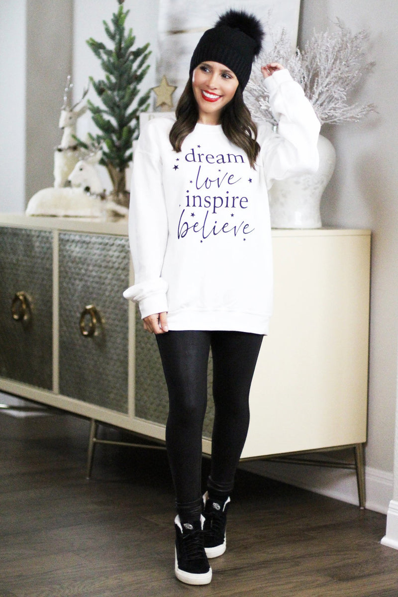 cozy inspirational holiday white sweatshirt
