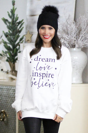 cozy inspirational holiday white sweater