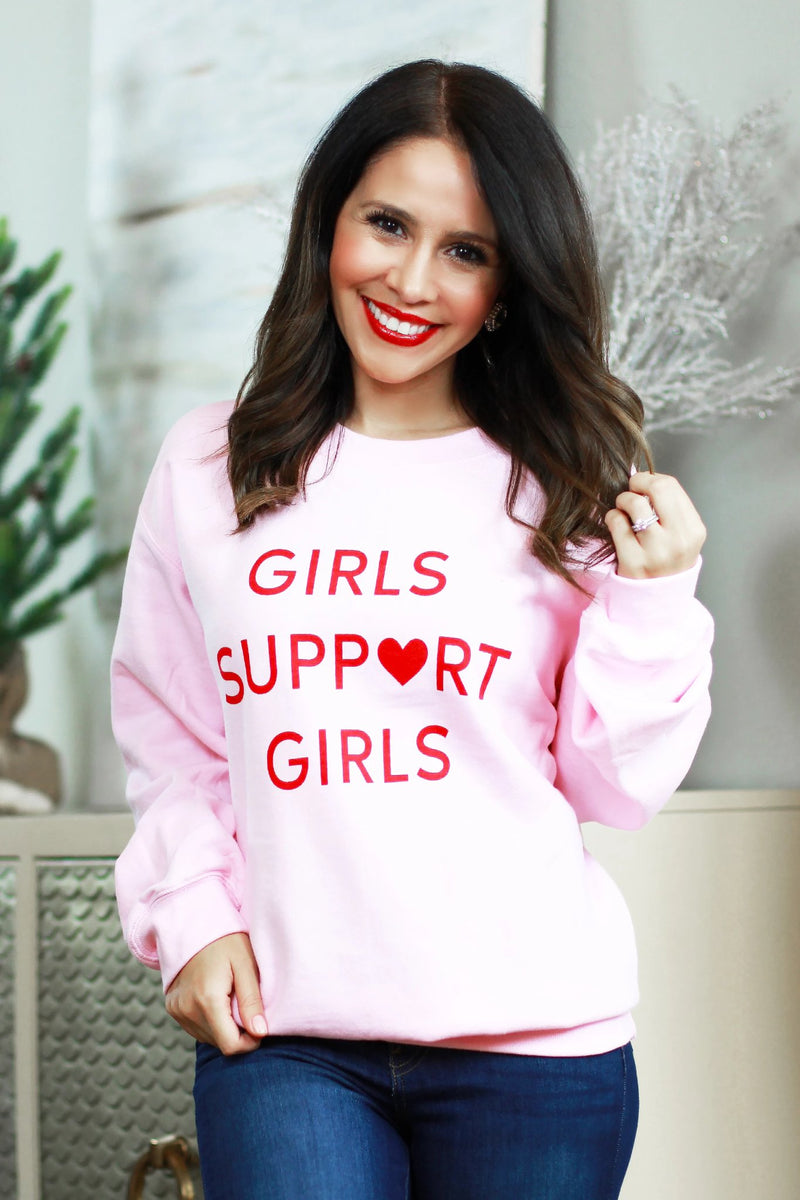 girls support girls pink sweatshirt