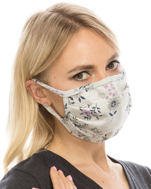 Gray Floral Double-Layer Face Cover