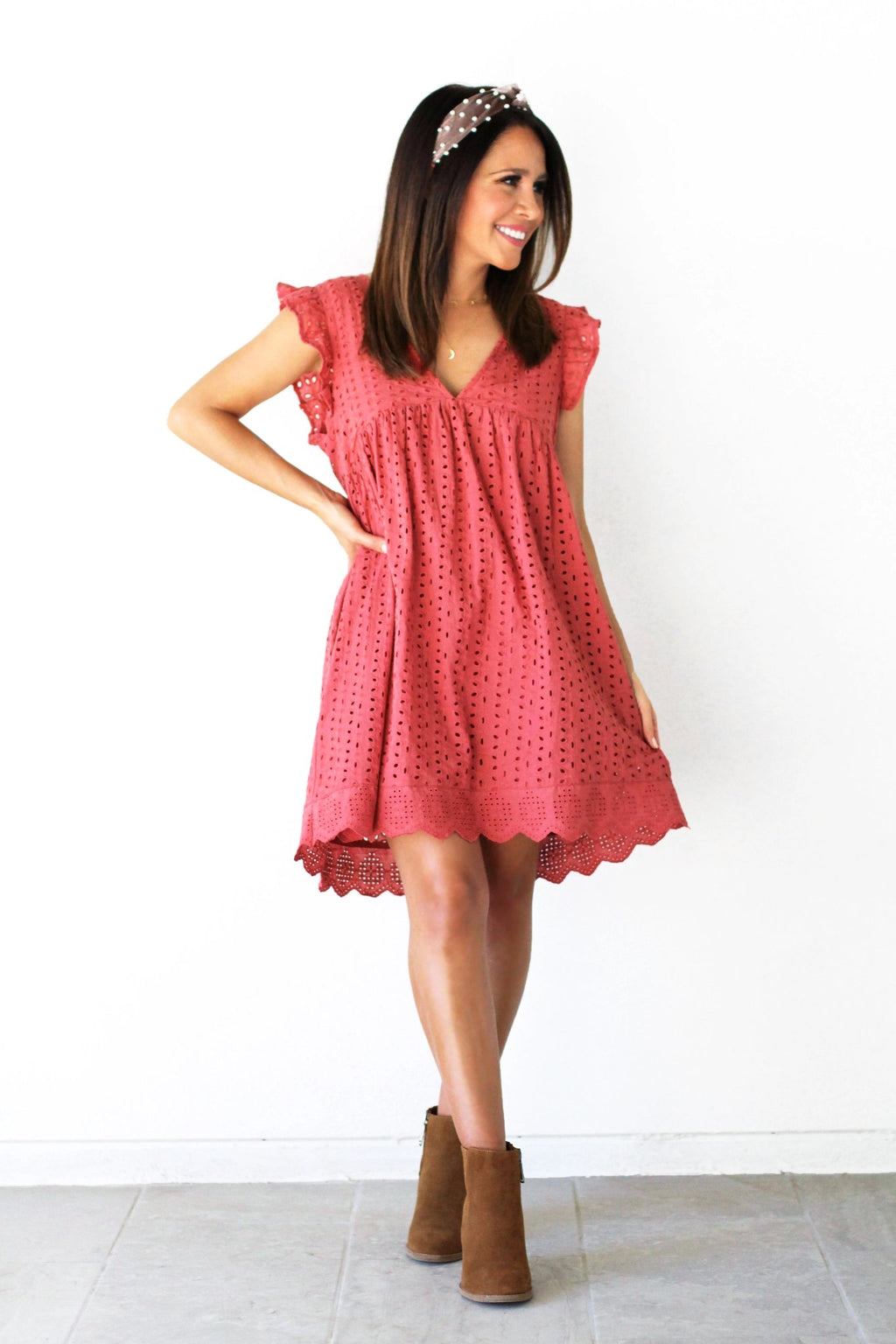 eyelet lace romper dress