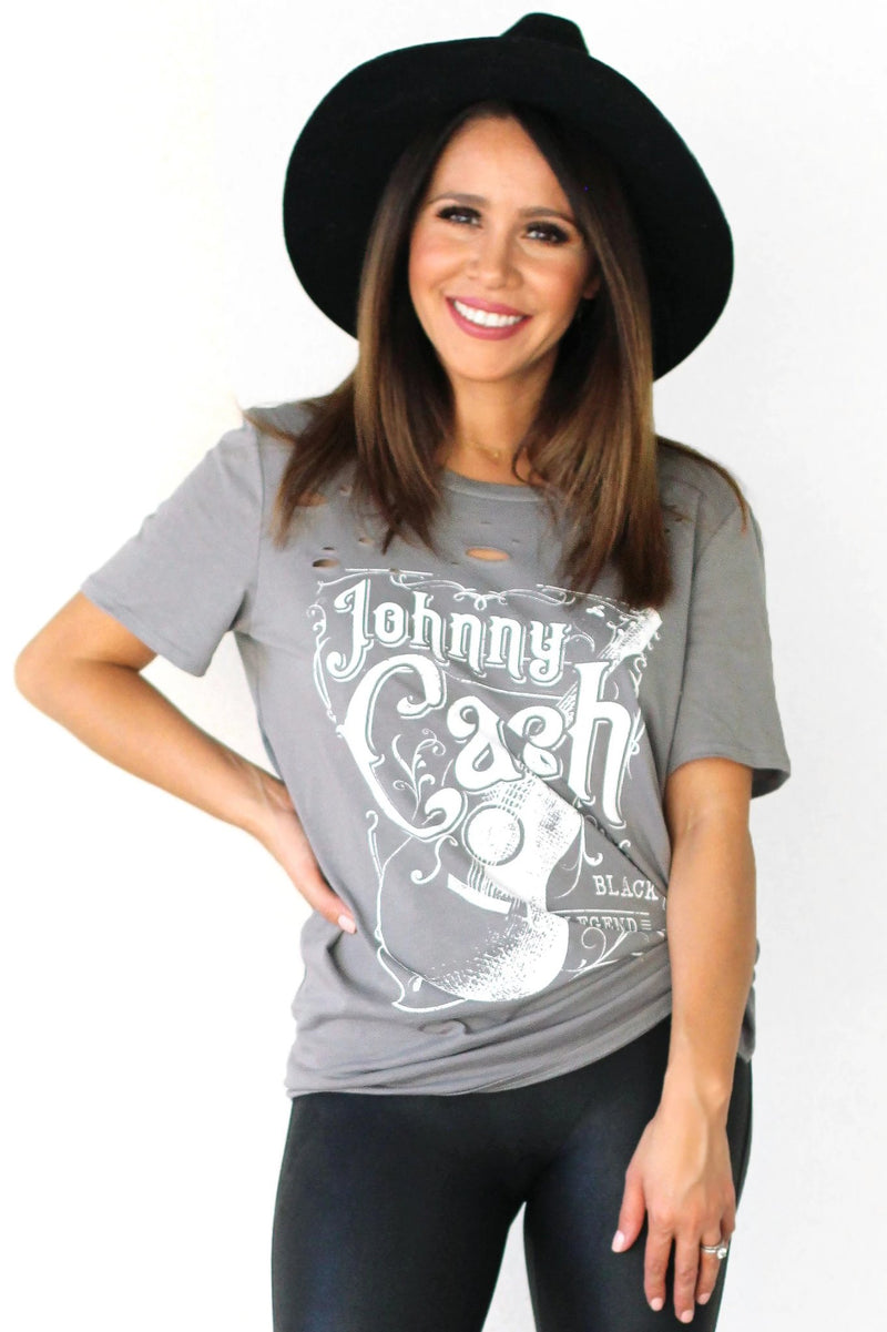 johnny cash distressed tshirt