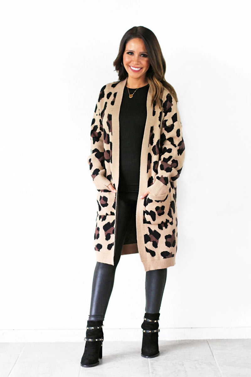 open front leopard print cardigan with pockets