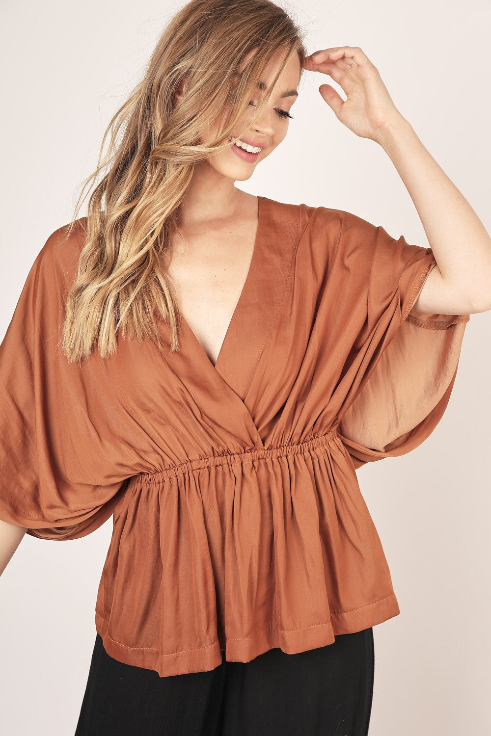 Maisie Surplice Caramel Top