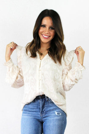 ivory ruffle sleeve floral top