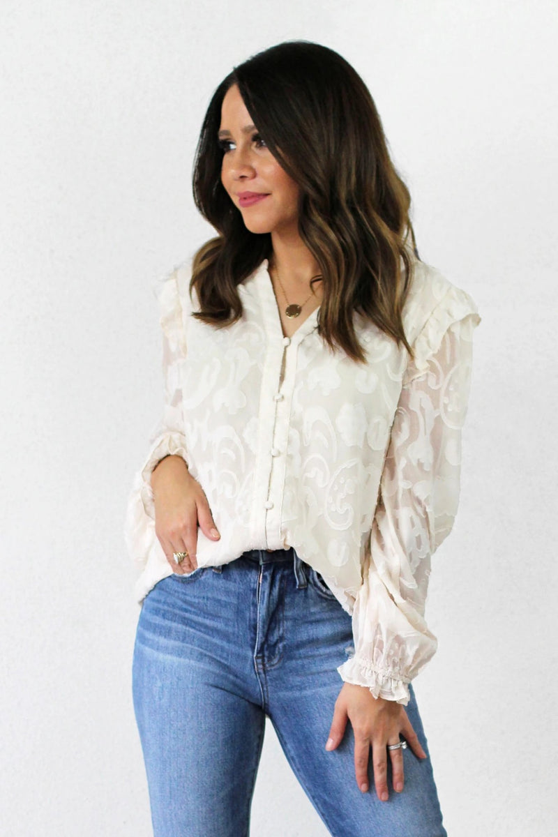 floral detail long sleeve top