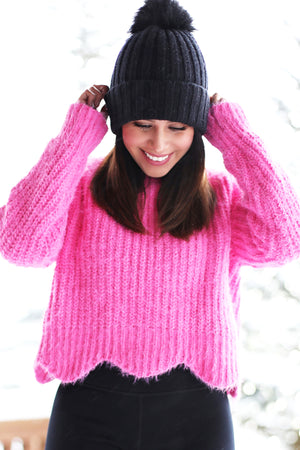 Victoria Scallop Hem Pink Sweater