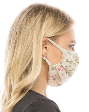 Taupe Floral Double-Layer Face Cover