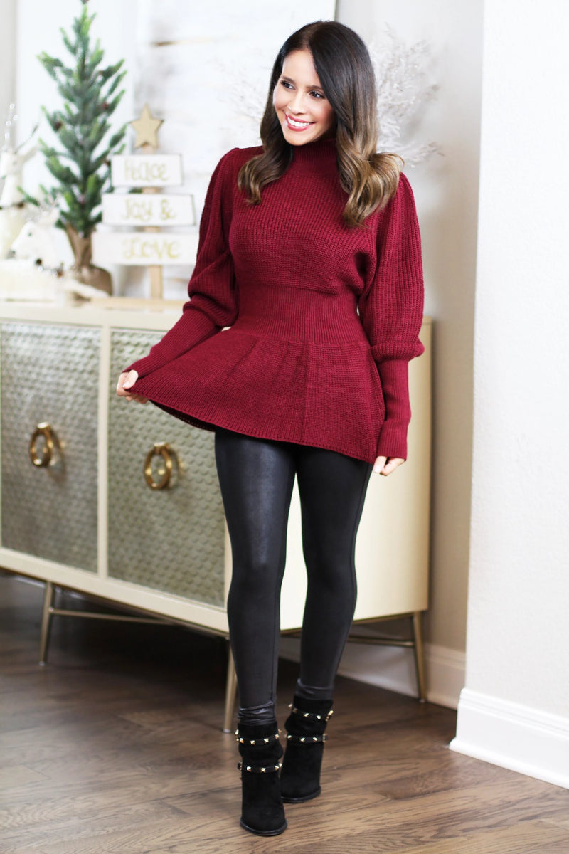 burgundy peplum sweater holiday style
