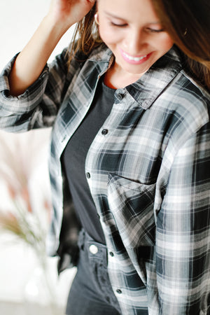 Drew Black and Gray Plaid Shirt